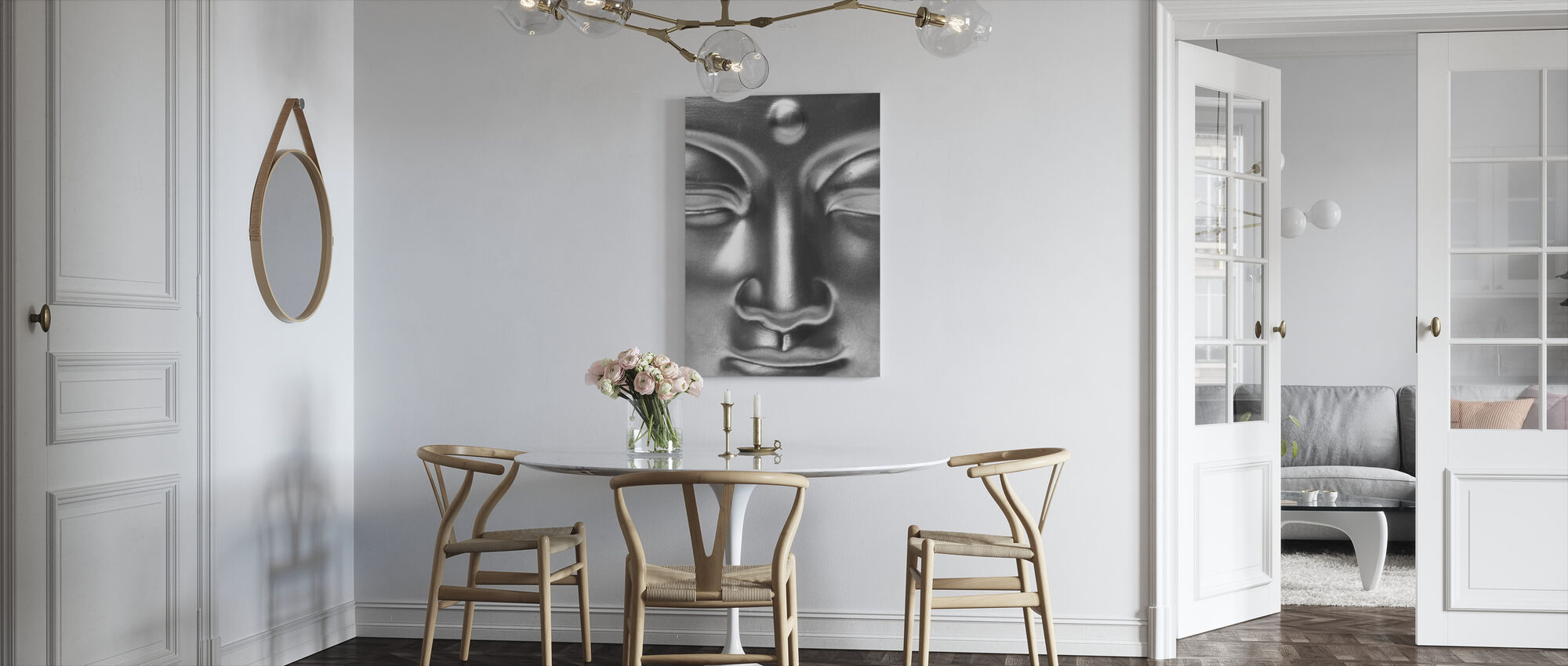 Golden Buddha Close Up - b/w - Canvas print - Kitchen