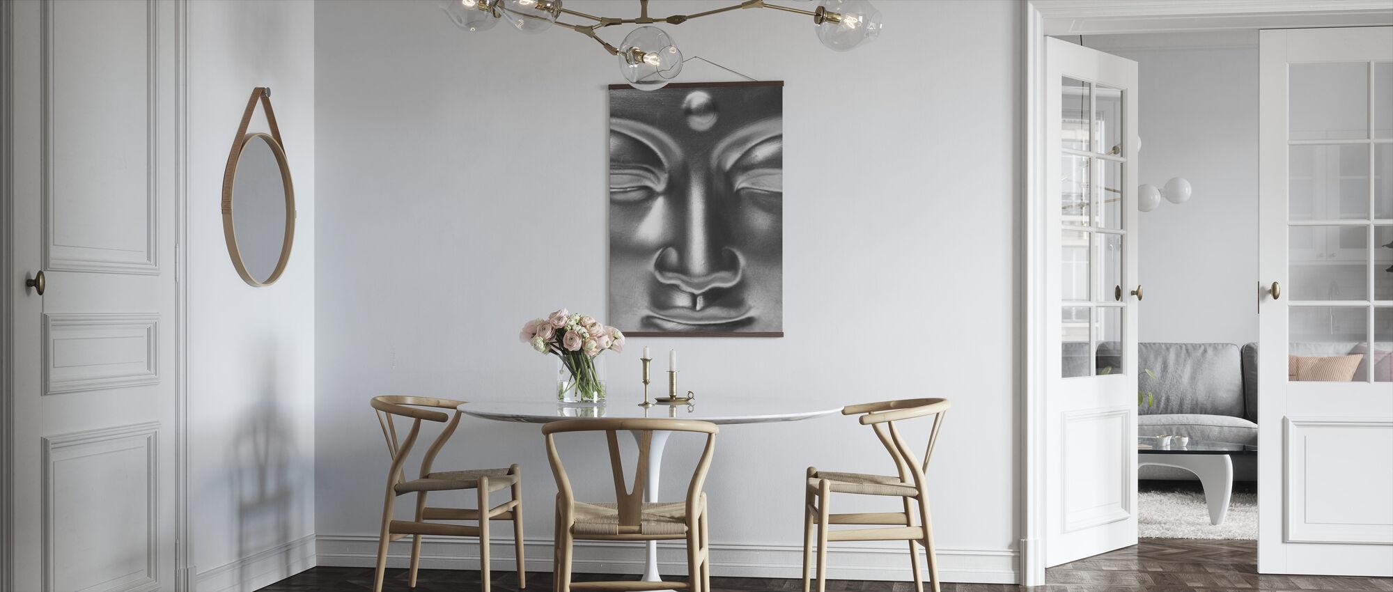 Gouden Boeddha Close Up - z/w - Poster - Keuken