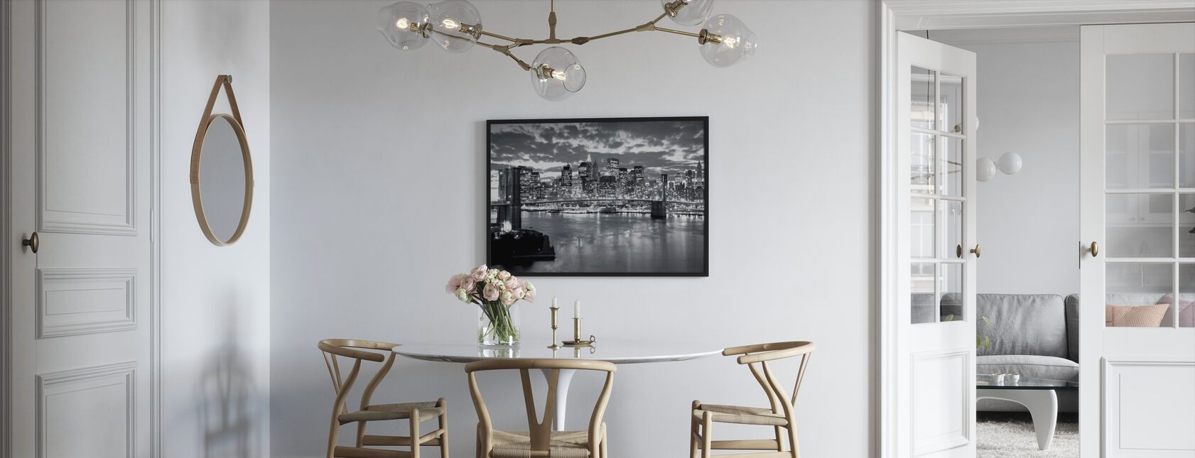 Brooklyn Bridge Cloudy Day - Framed print - Kitchen