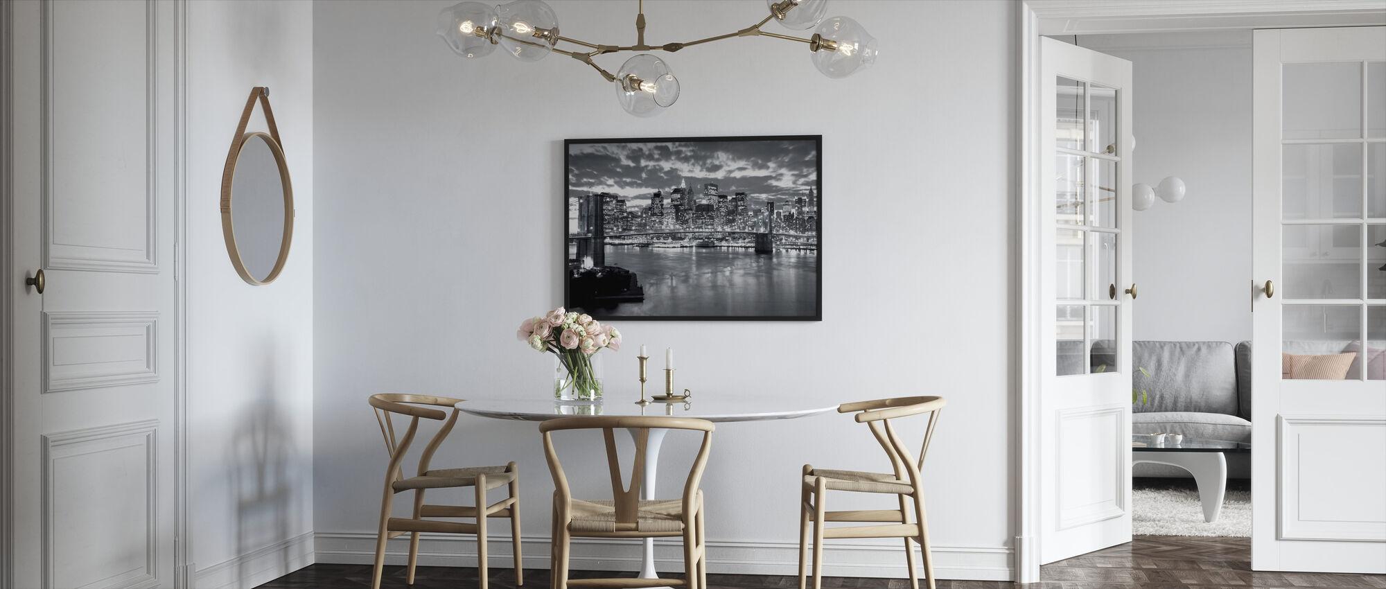 Brooklyn Bridge pilvinen päivä - Kehystetty kuva - Keittiö