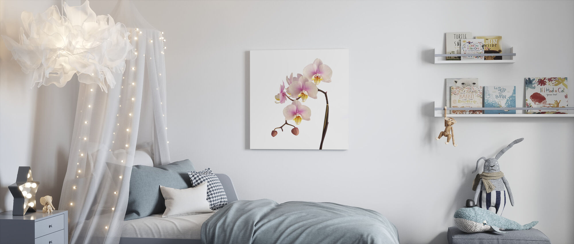 Pink Orchid Stem - Canvas print - Kids Room