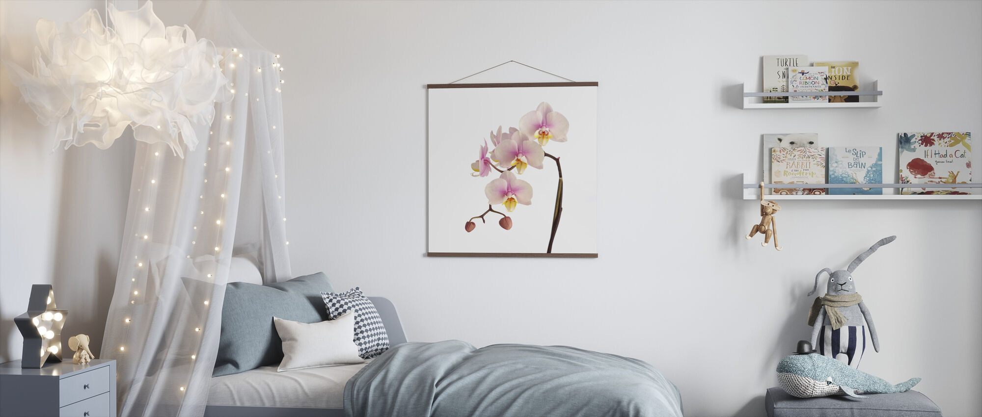 Pink Orchid Stem - Poster - Kids Room