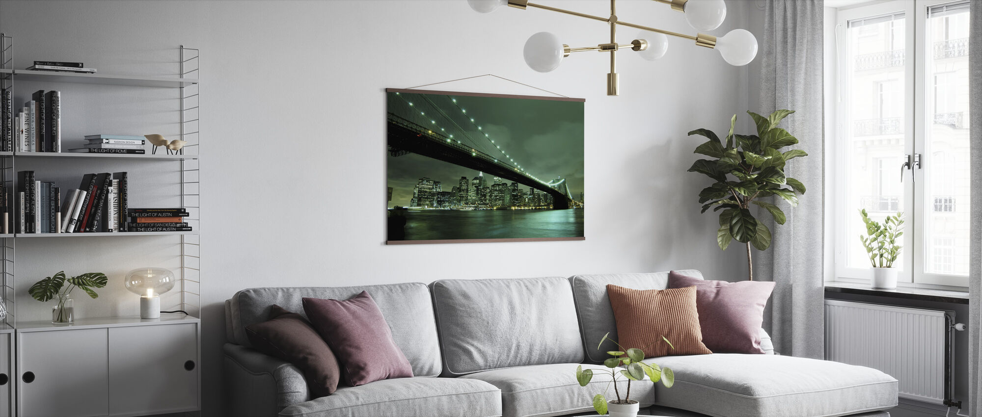 Brooklyn Bridge at Night Green - Poster - Living Room