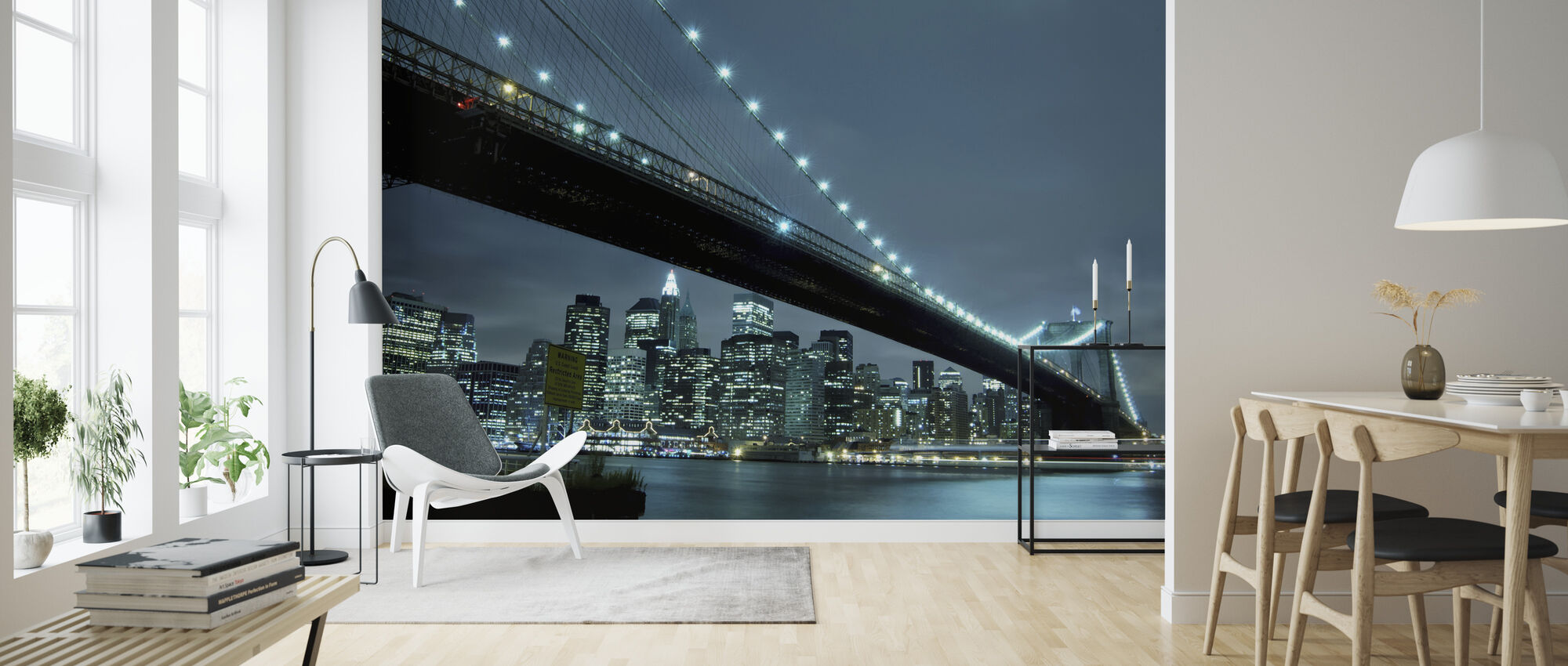 Brooklyn Bridge at Night - Wallpaper - Living Room