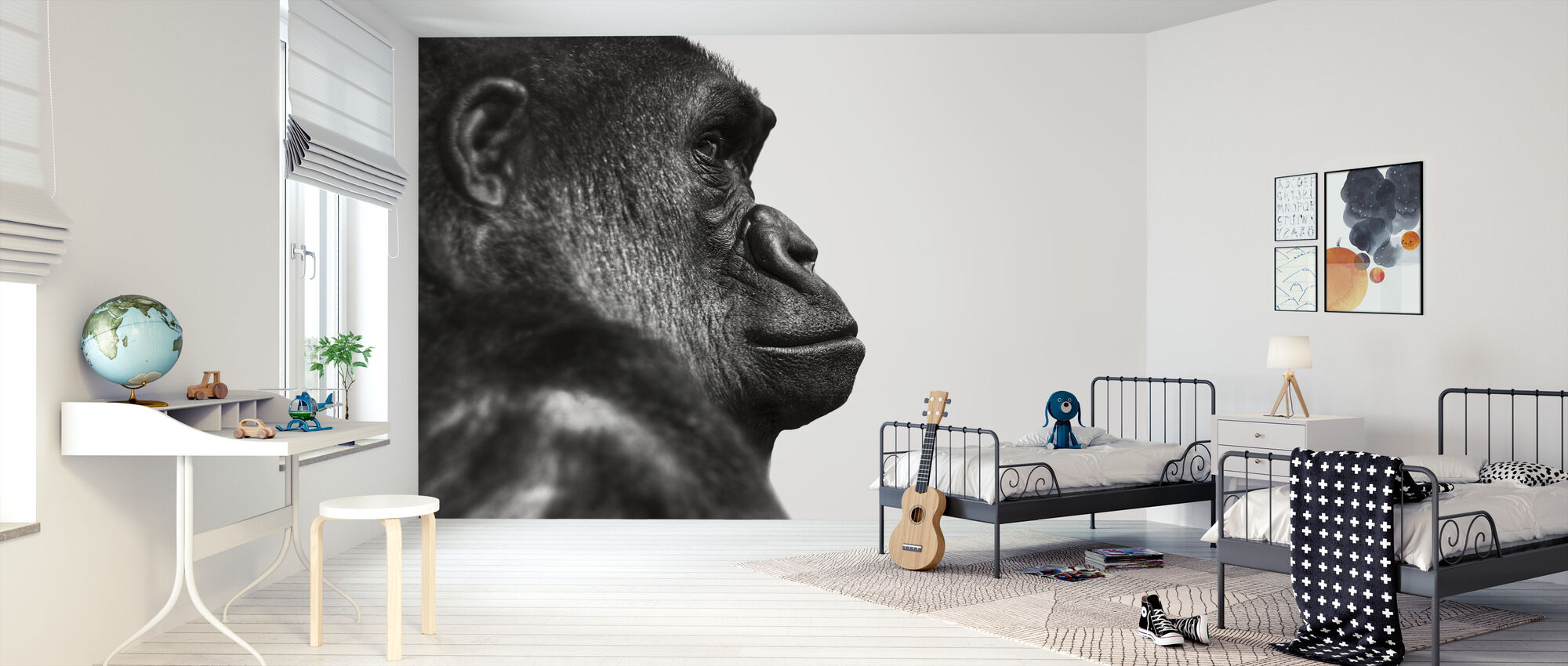 Gorilla - b/w - Wallpaper - Kids Room