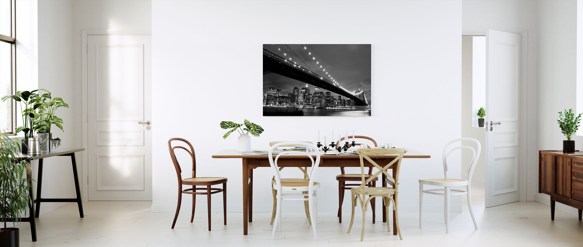 Brooklyn Bridge at Night - b/w - Canvas print - Kitchen