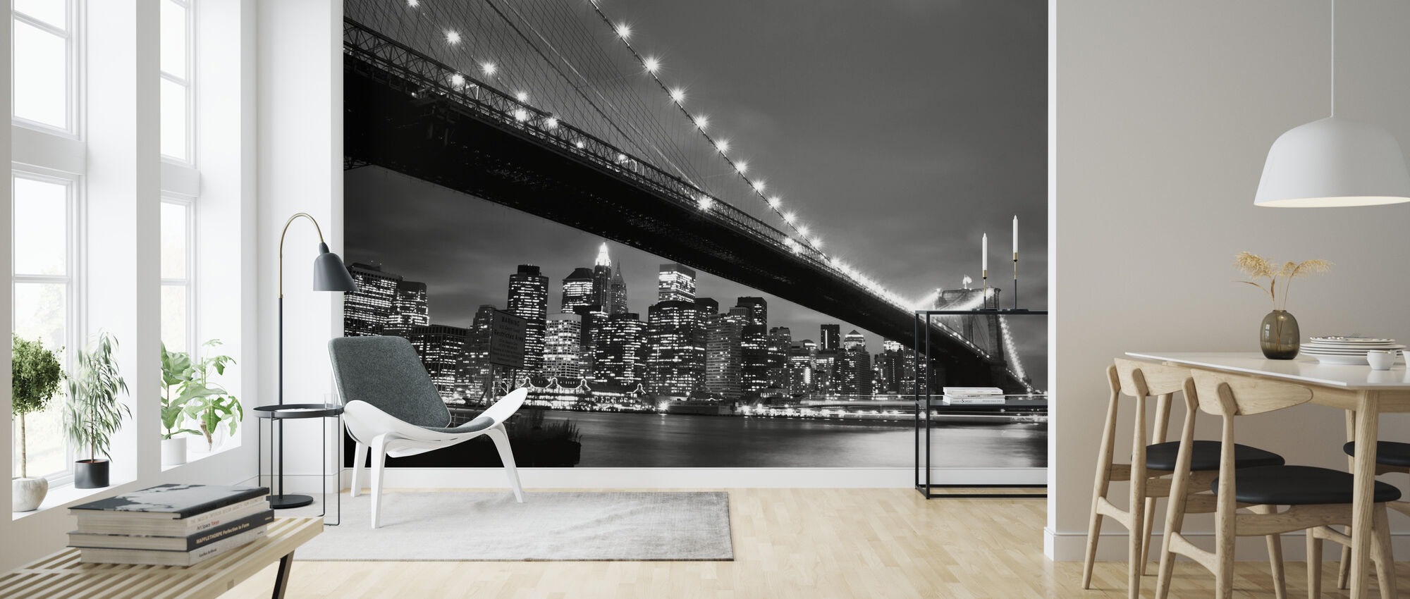 Brooklyn Bridge at Night - b/w - Wallpaper - Living Room