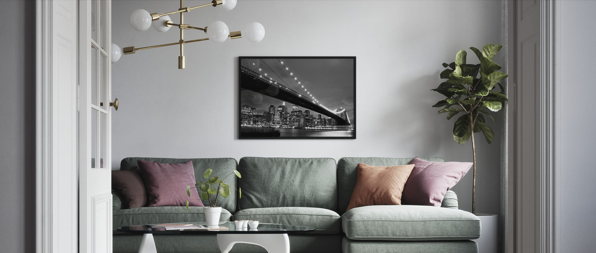 Brooklyn Bridge yöllä - b/w - Kehystetty kuva - Olohuone