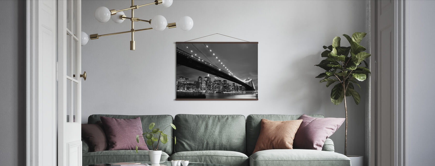 Brooklyn Bridge at Night - b/w - Poster - Living Room
