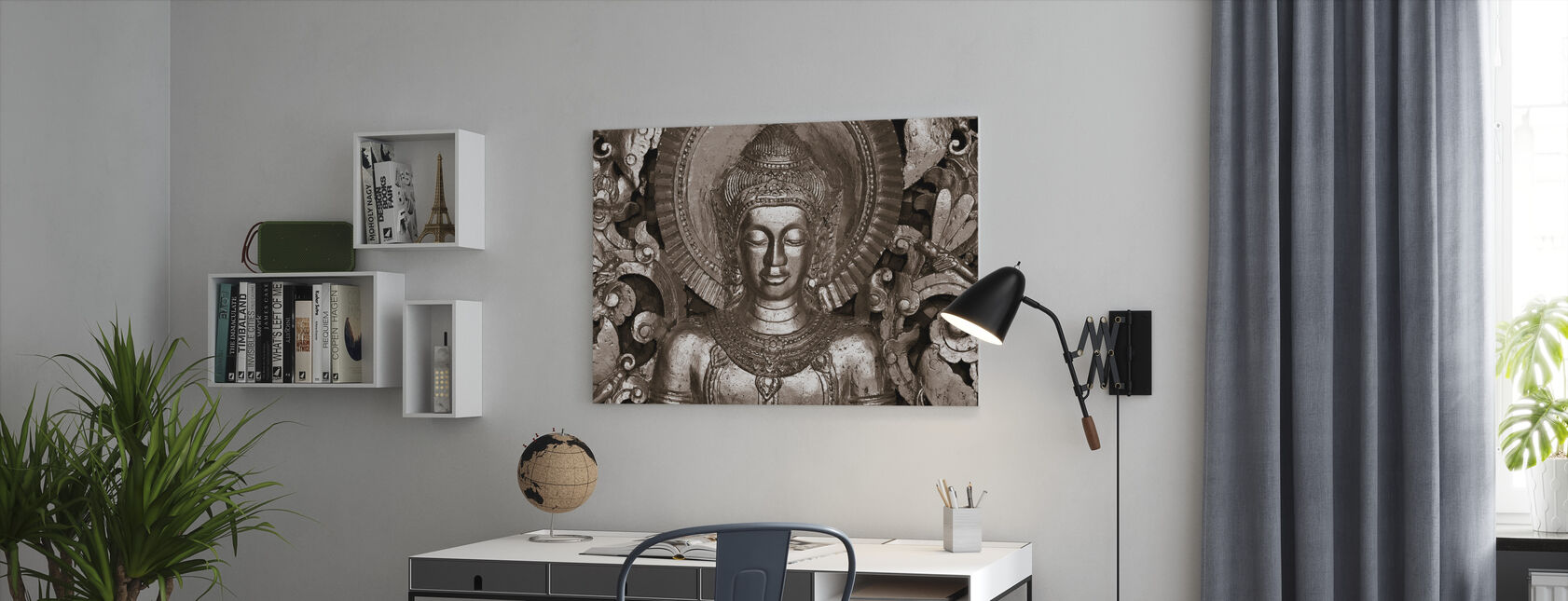 Buddha - Luang Prabang - Sepia - Billede på lærred - Kontor