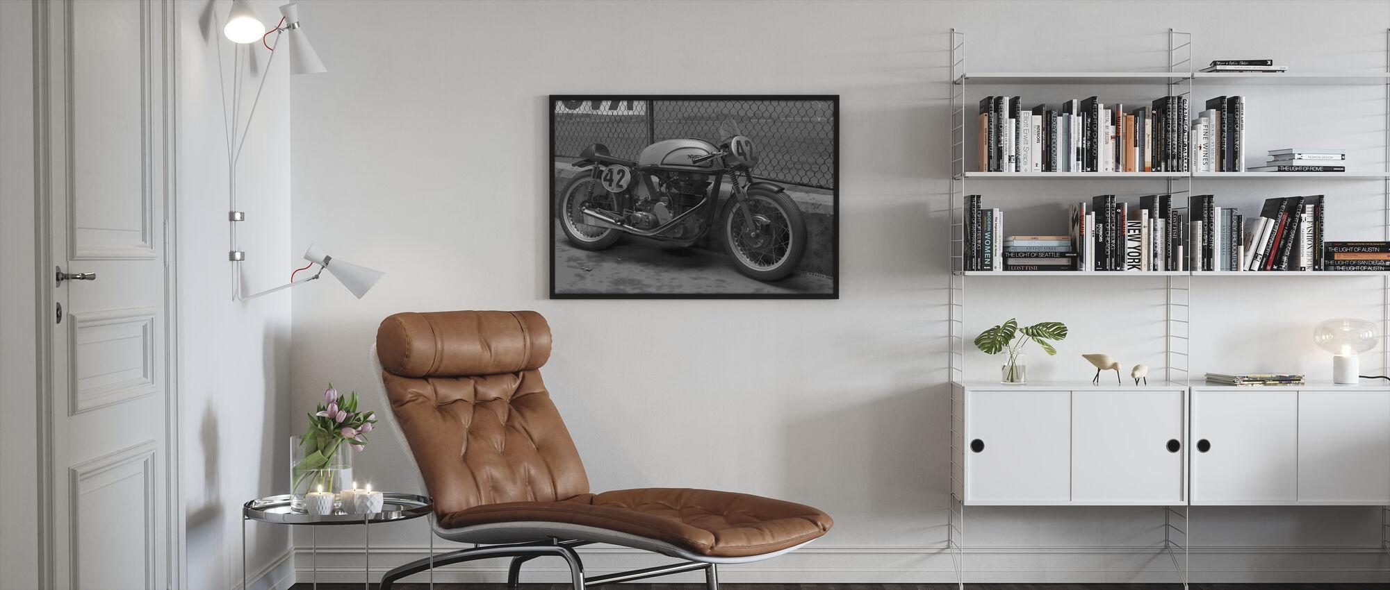 Motorfiets Finale BW - Ingelijste print - Woonkamer