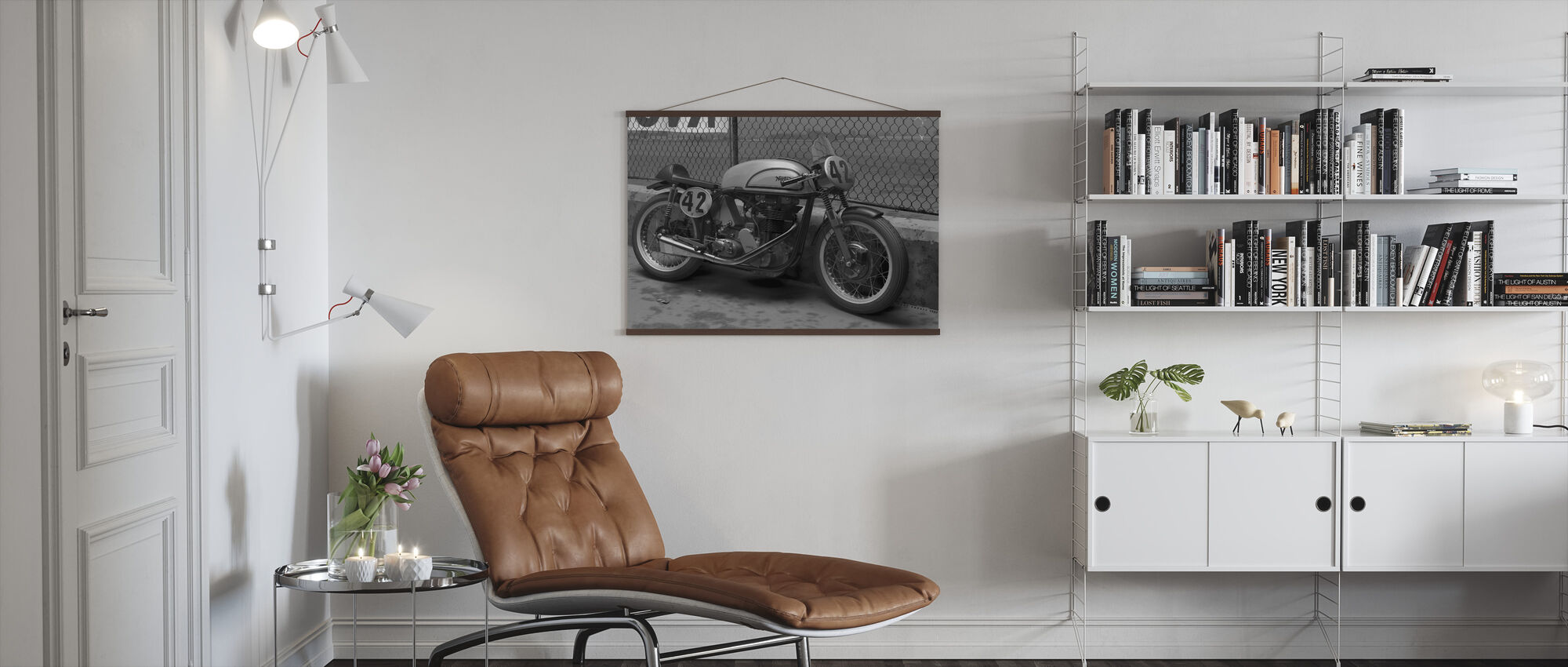 Motorcycle Final BW - Poster - Living Room