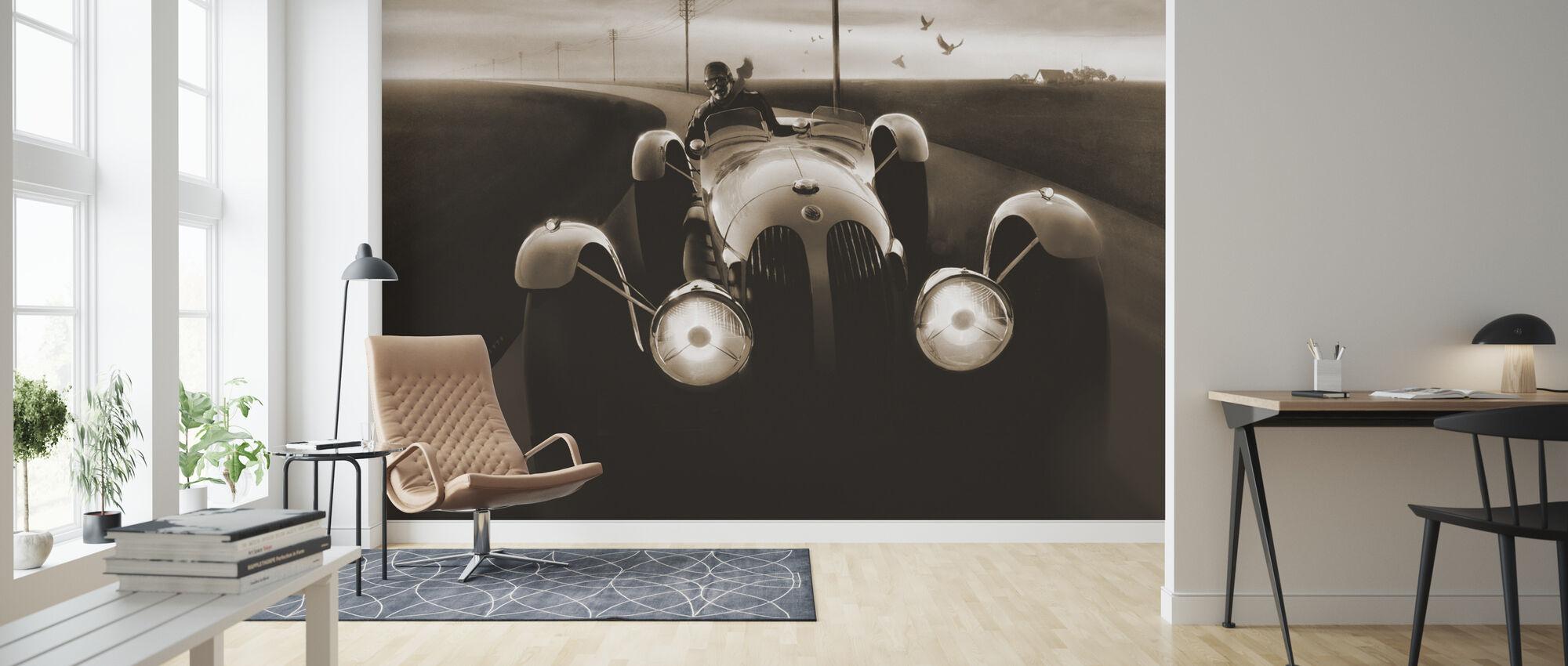Templars Hirondel Sepia - Wallpaper - Living Room