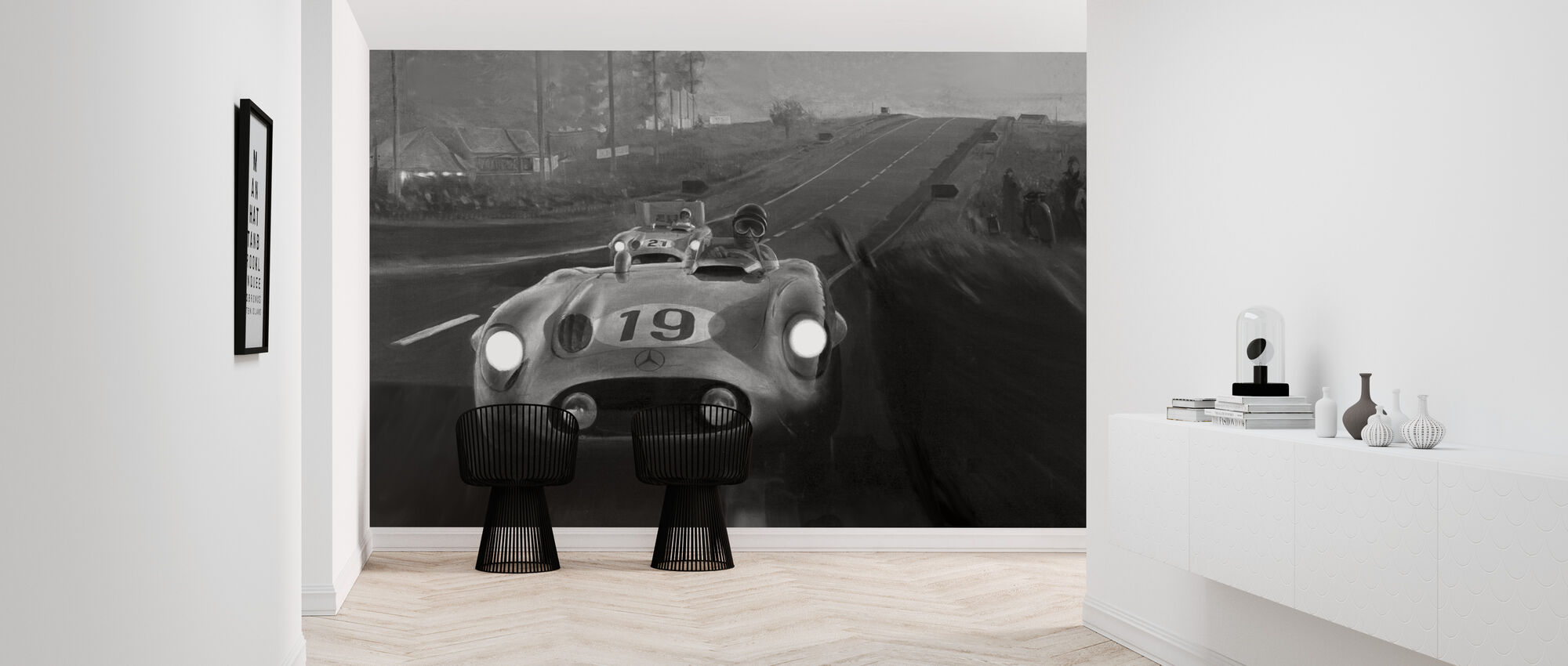 Old Classic Car BW - Wallpaper - Hallway