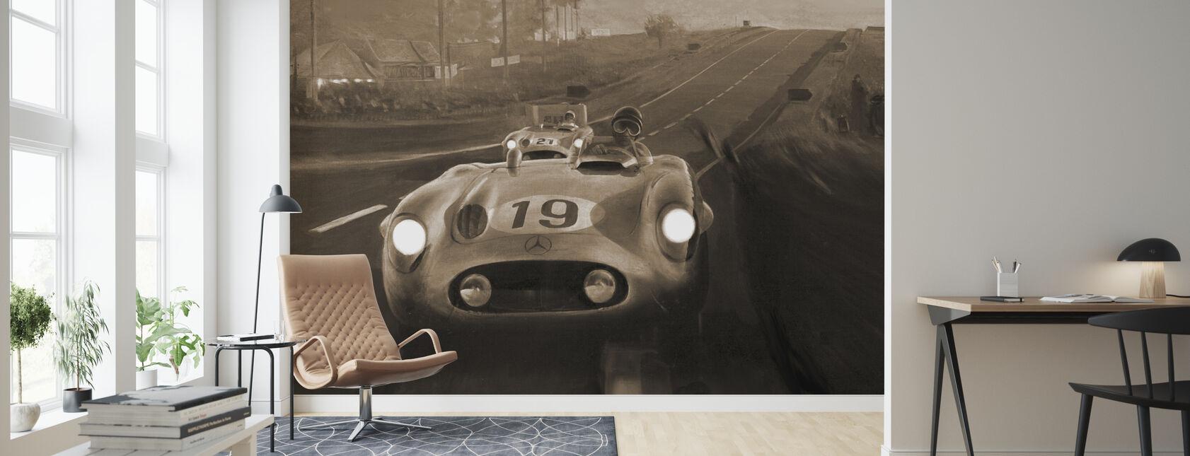 Old Classic Car Sepia - Wallpaper - Living Room