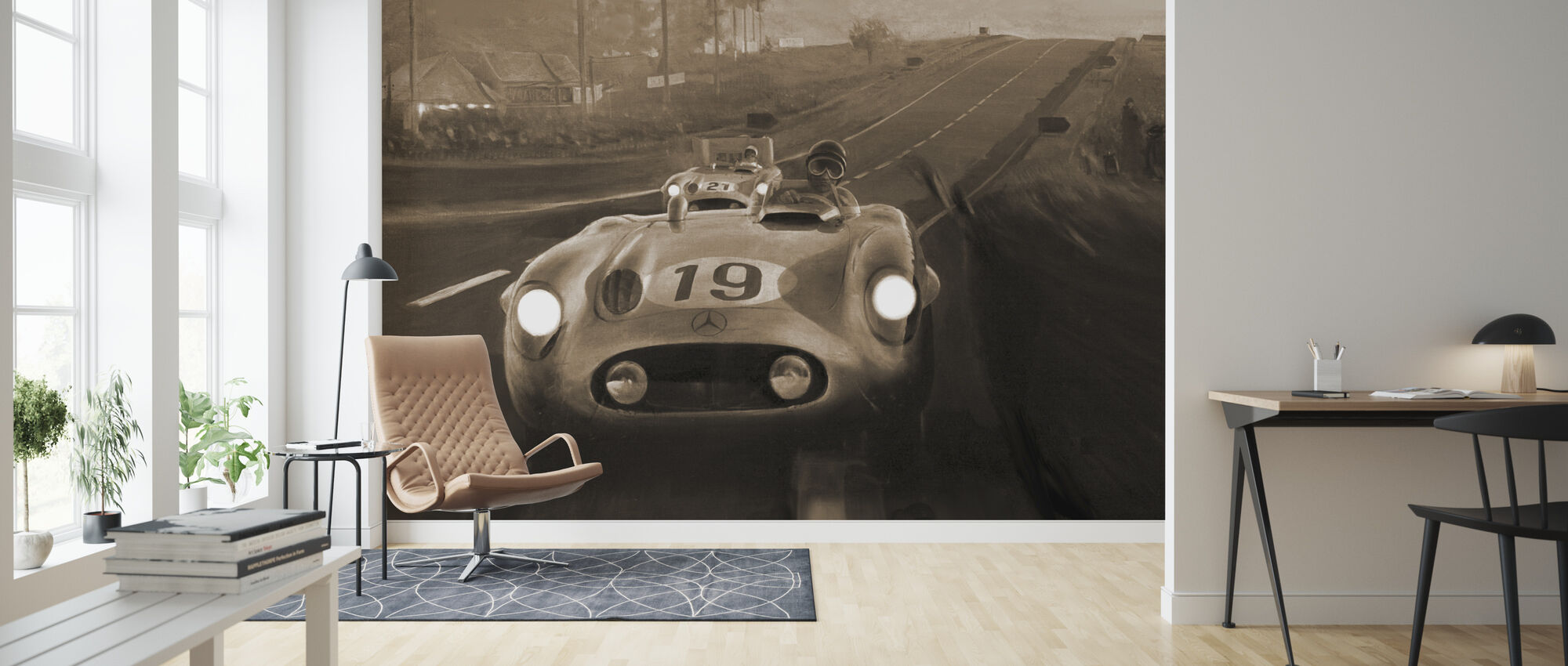 Gamle klassiske bil Sepia - Tapet - Stue