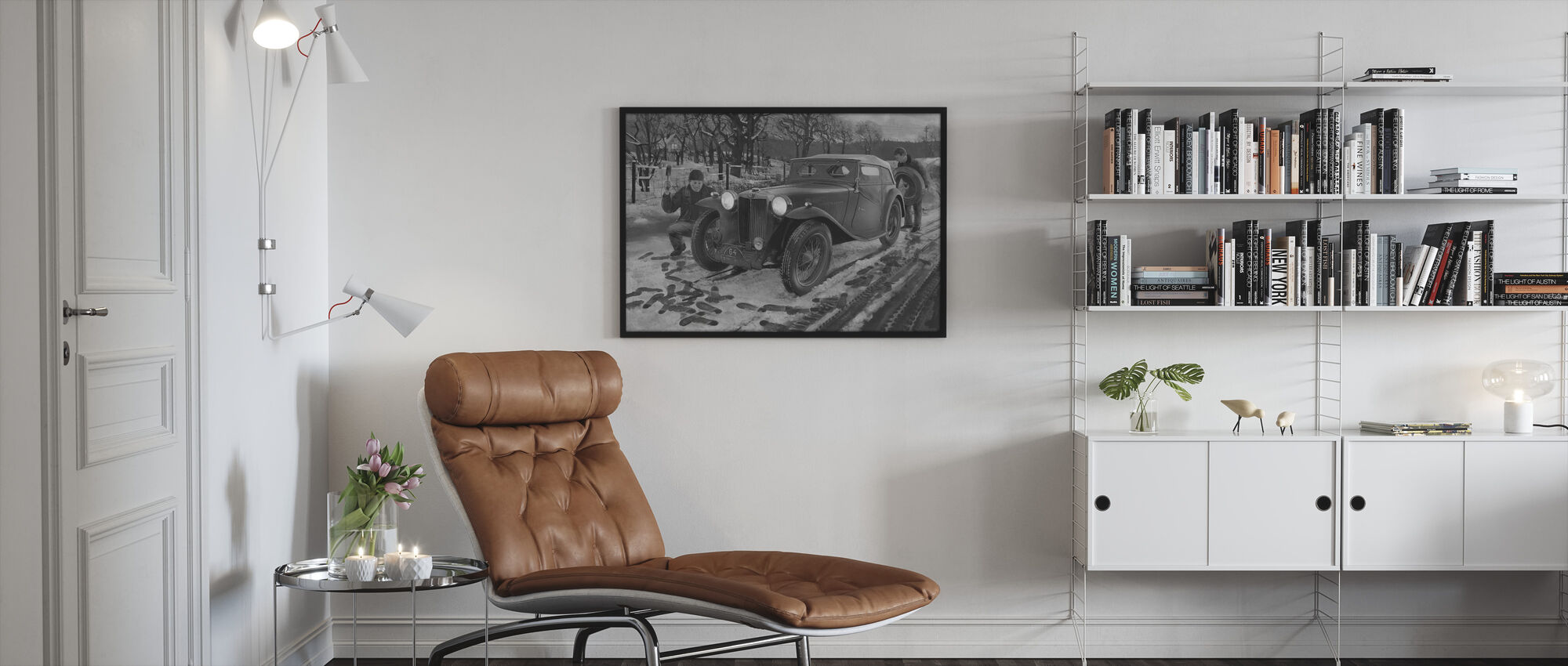 Winter Rally BW - Framed print - Living Room