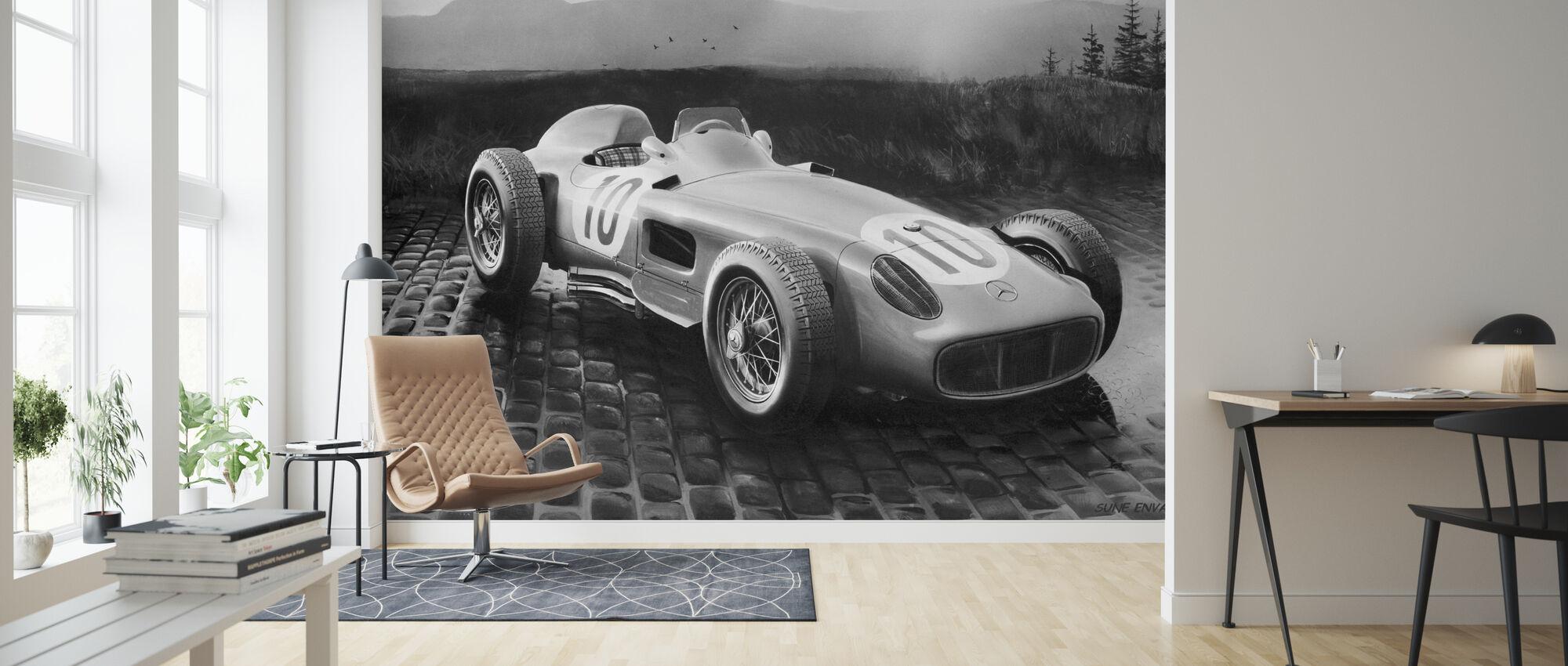 Car 1954 BW - Wallpaper - Living Room