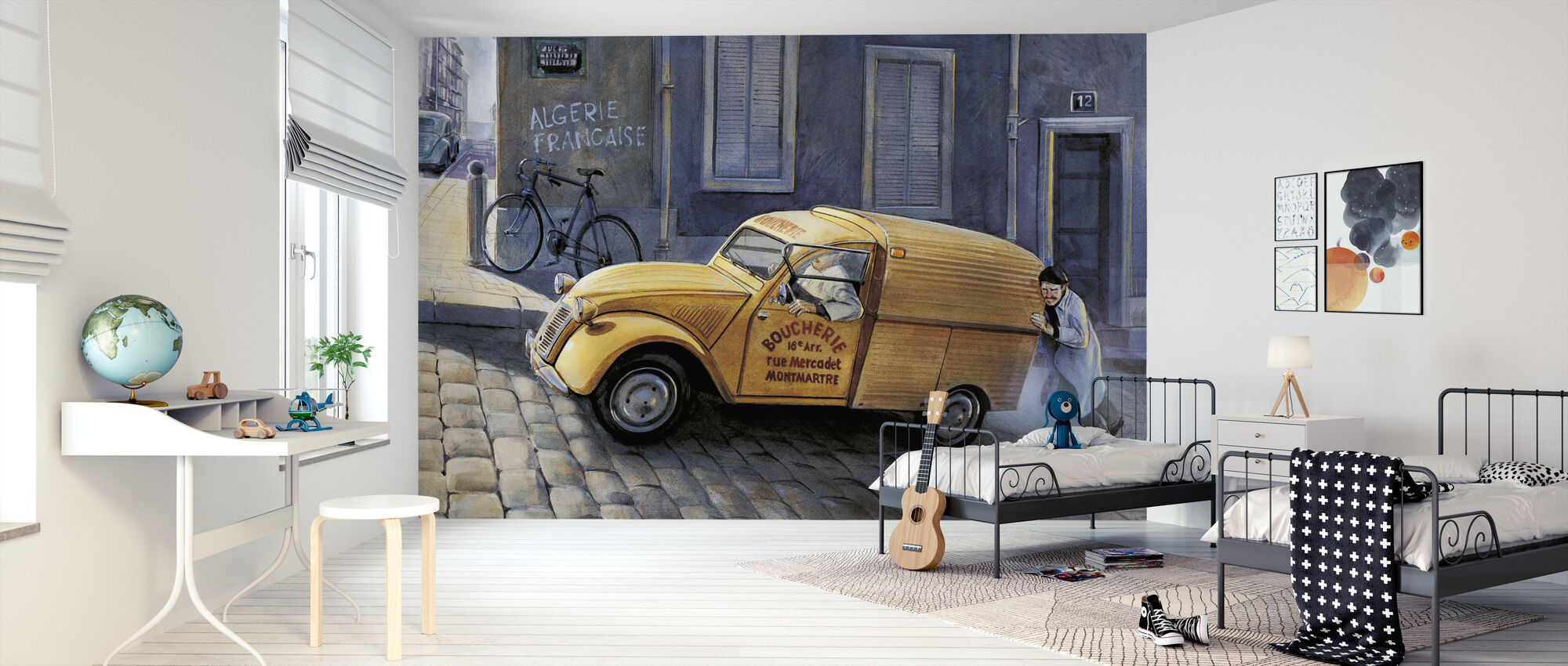 Car In Paris - Wallpaper - Kids Room
