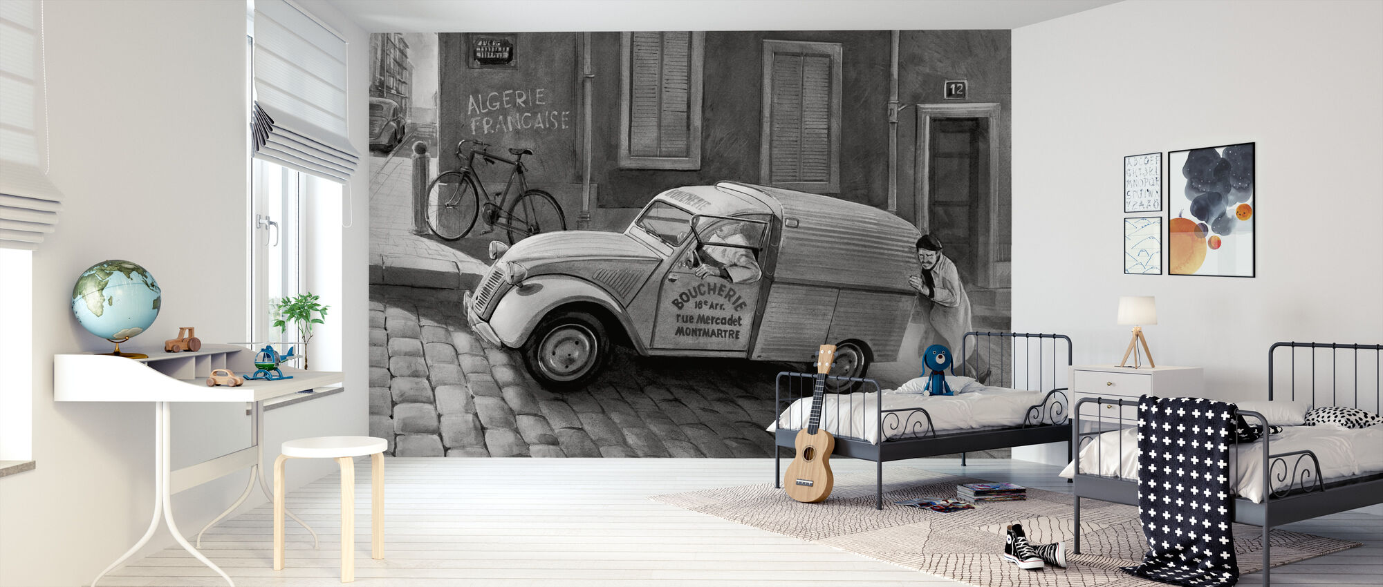 Car In Paris BW - Wallpaper - Kids Room