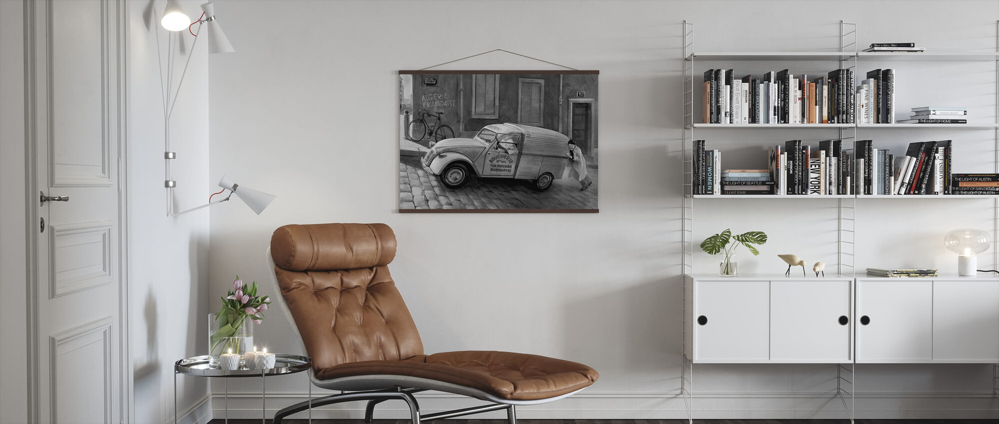 Car In Paris BW - Poster - Living Room