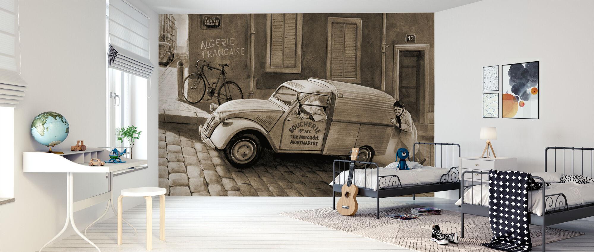 Bil i Paris Sepia - Tapet - Børneværelse