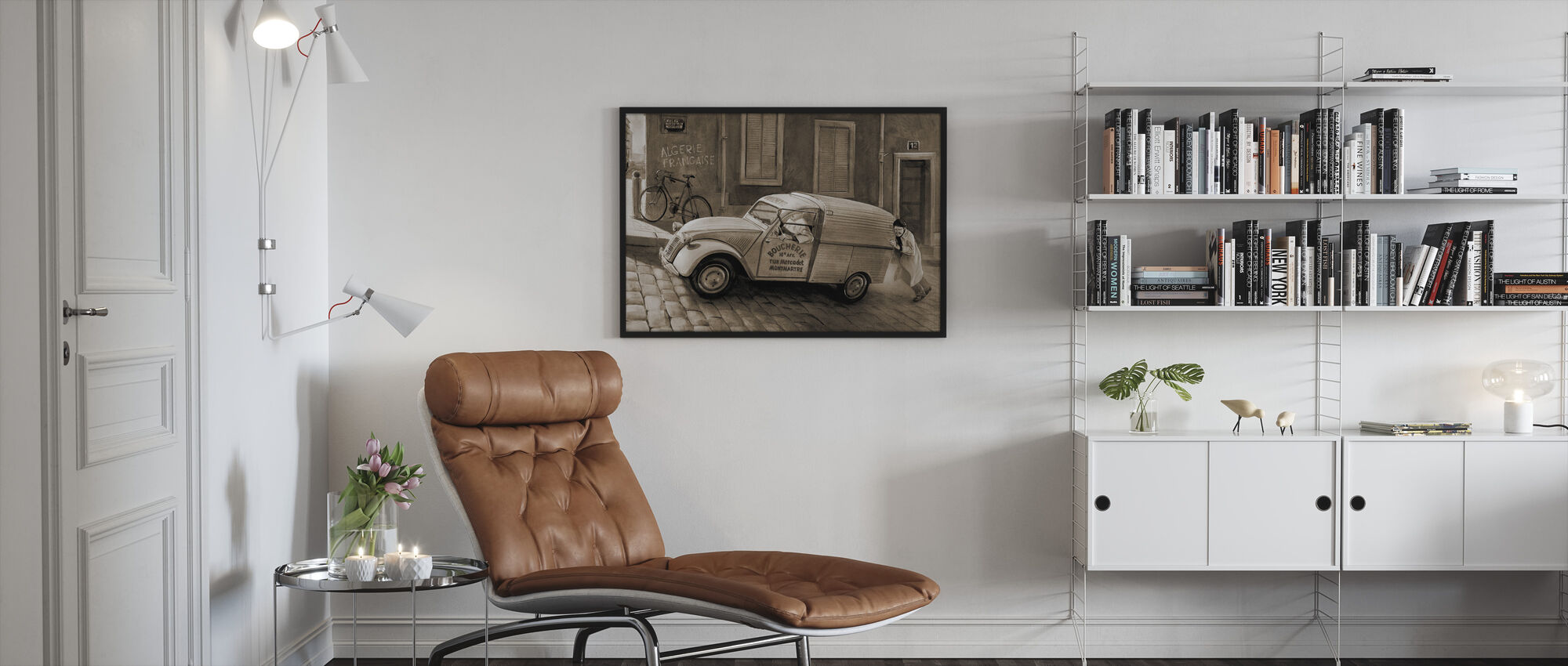 Car In Paris Sepia - Framed print - Living Room