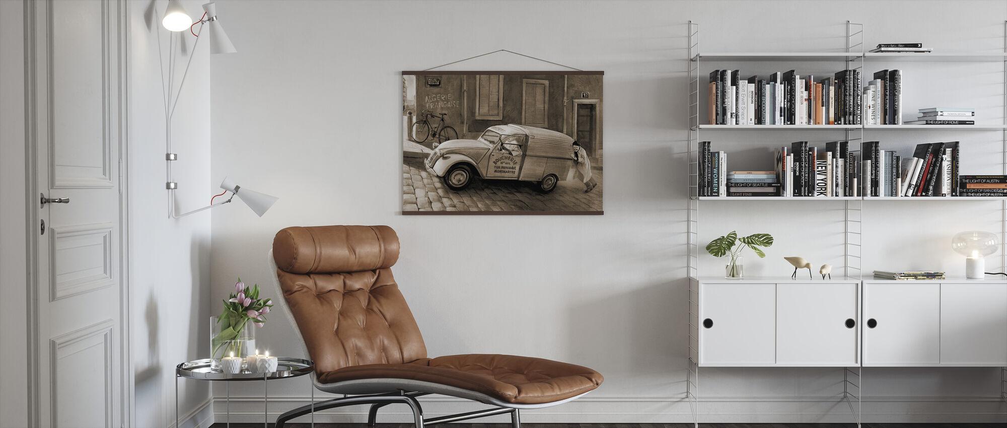 Car In Paris Sepia - Poster - Living Room