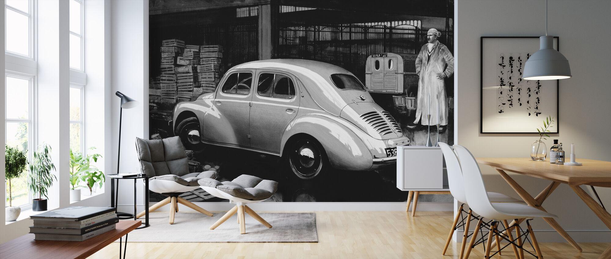 Classic Car BW - Wallpaper - Living Room