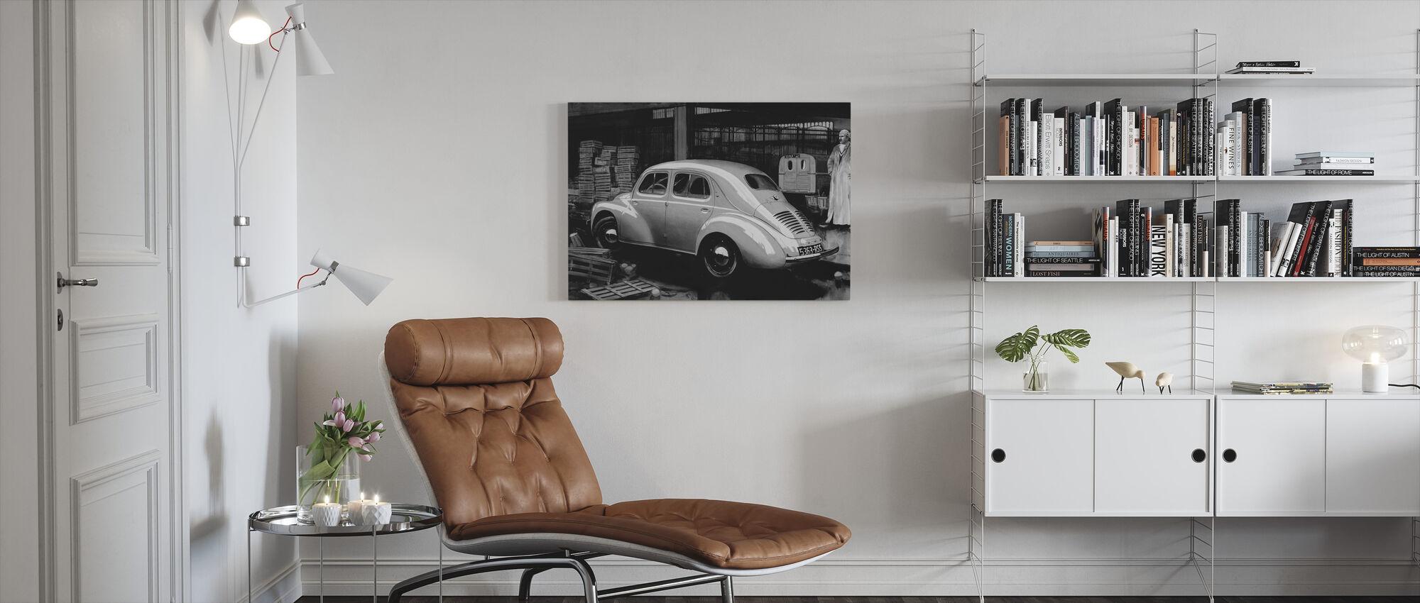 Klasyczny samochód BW - Obraz na płótnie - Pokój dzienny