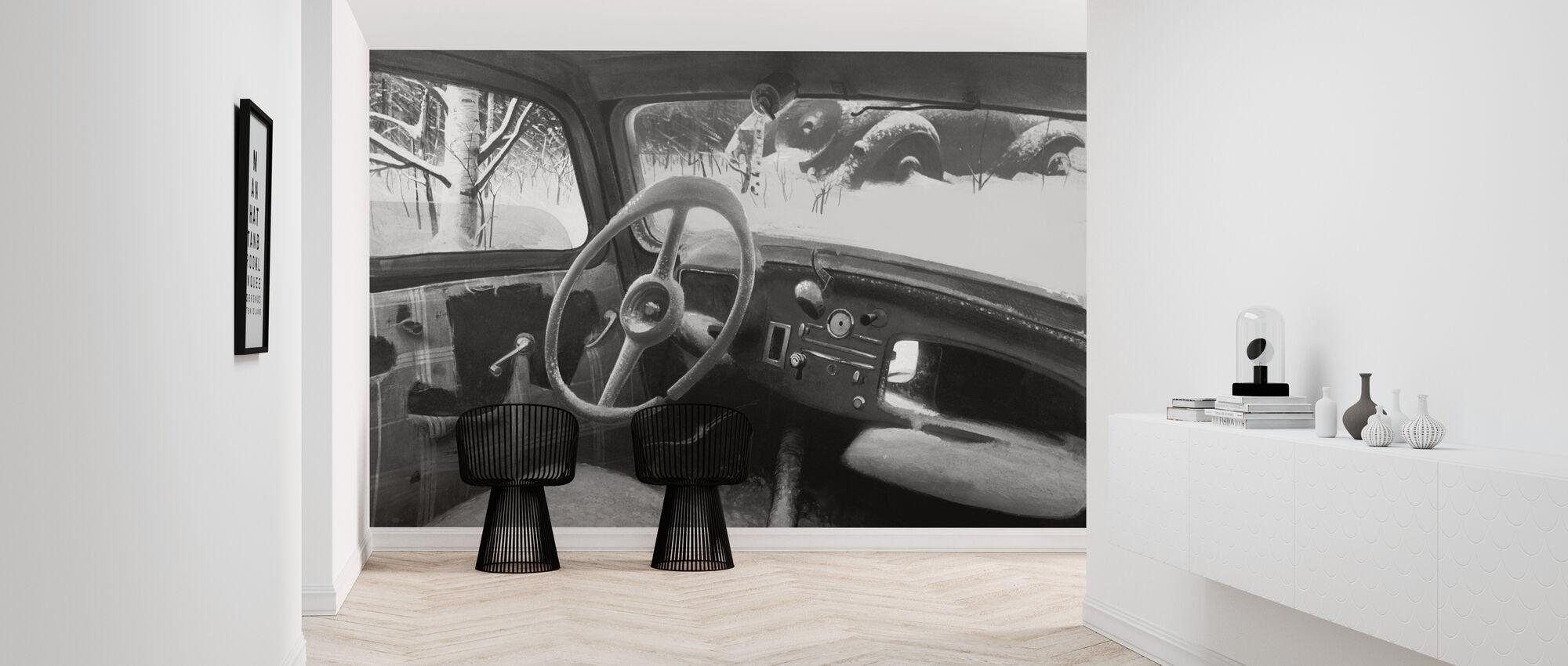 B11 Steering Wheel BW - Wallpaper - Hallway