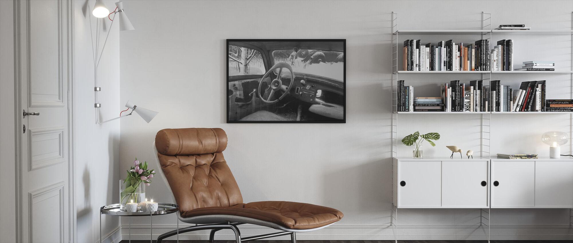 B11 Steering Wheel BW - Framed print - Living Room