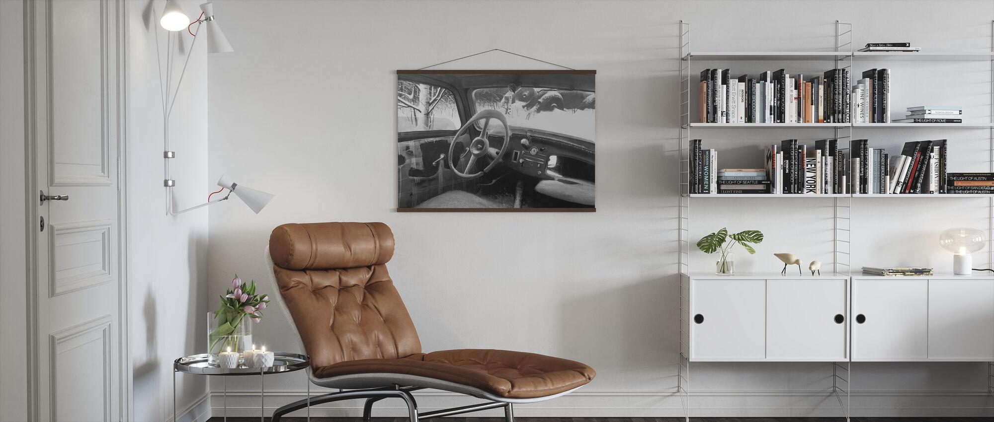 B11 Steering Wheel BW - Poster - Living Room