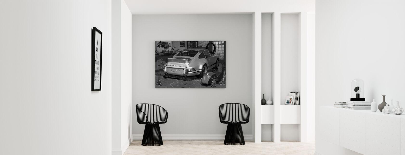 Min første og anden bil - BW - Billede på lærred - Entré