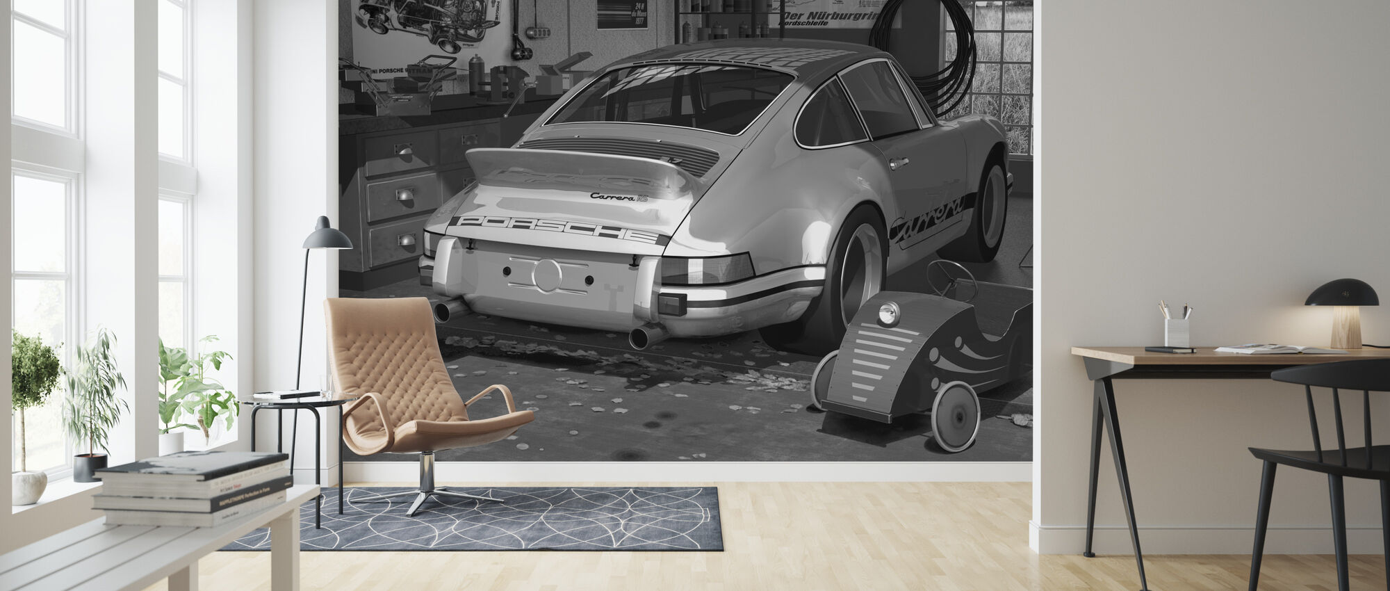 My first and second car - BW - Wallpaper - Living Room