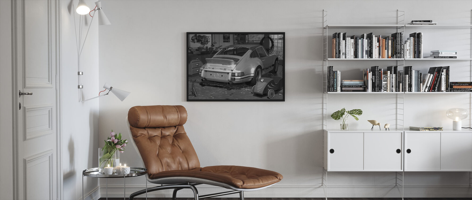 My first and second car - BW - Framed print - Living Room