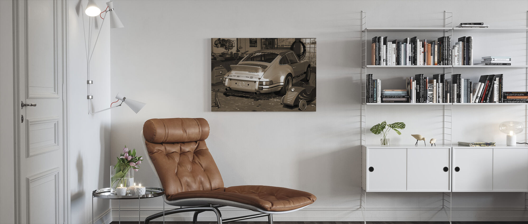 My first and second car - Sepia - Canvas print - Living Room