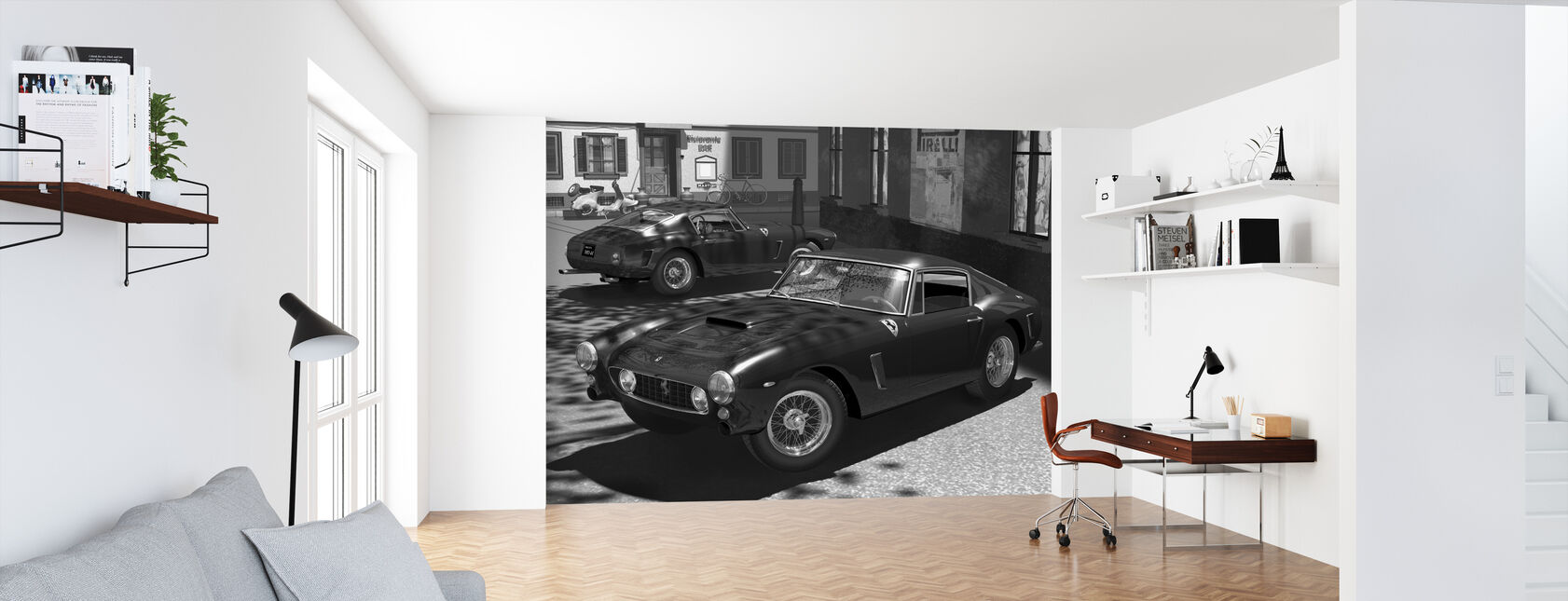 Classic Sports Car BW - Wallpaper - Office