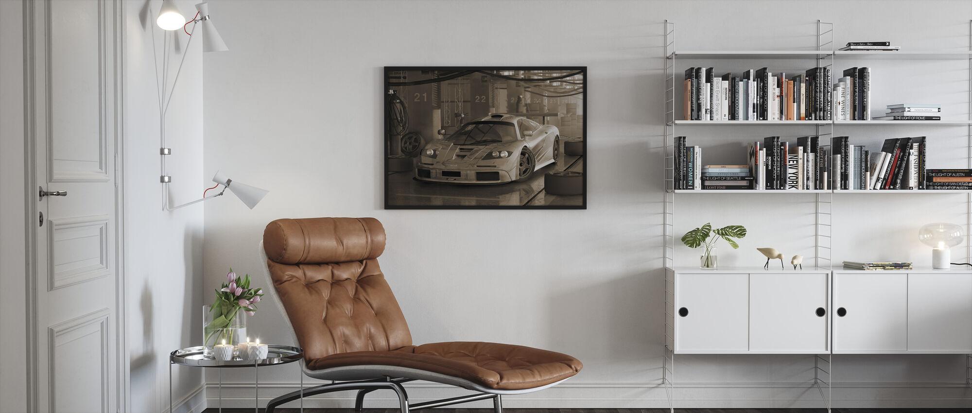 Fast Car Sepia - Framed print - Living Room
