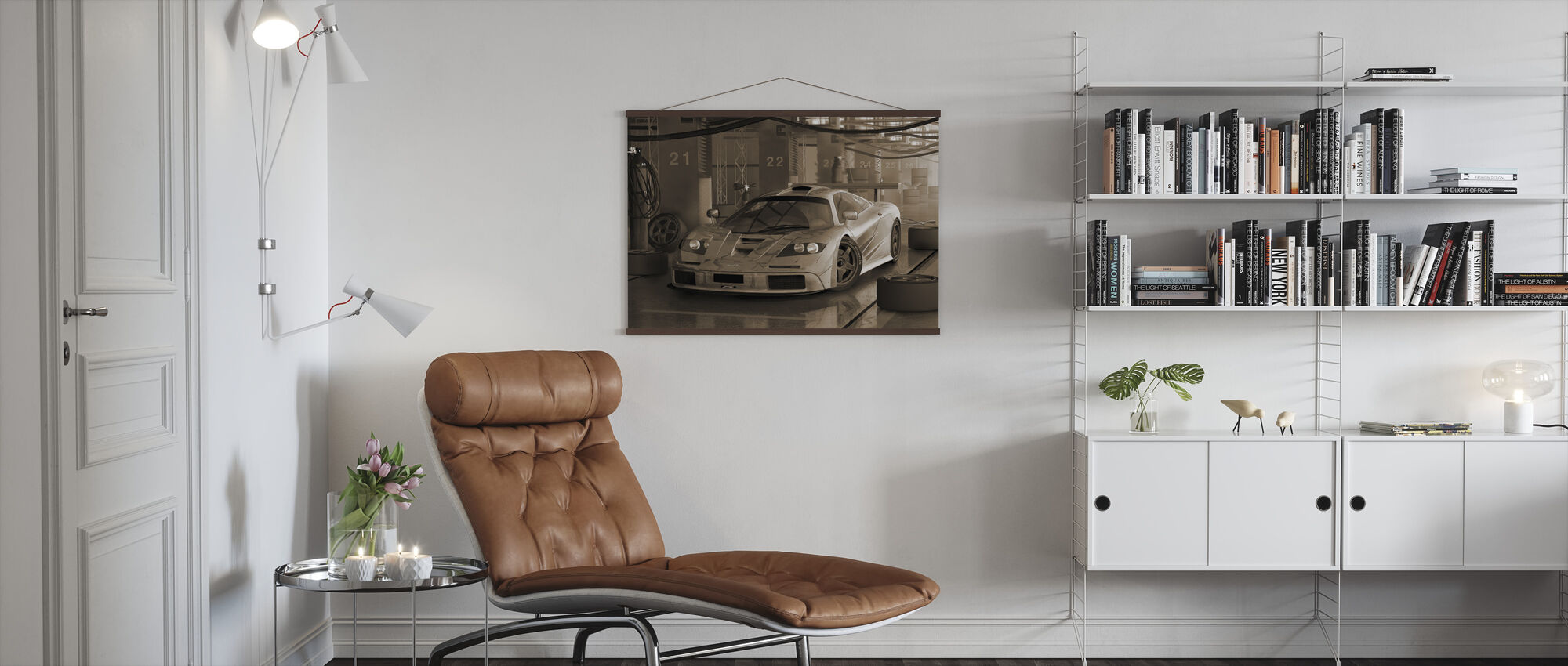 Fast Car Sepia - Poster - Living Room