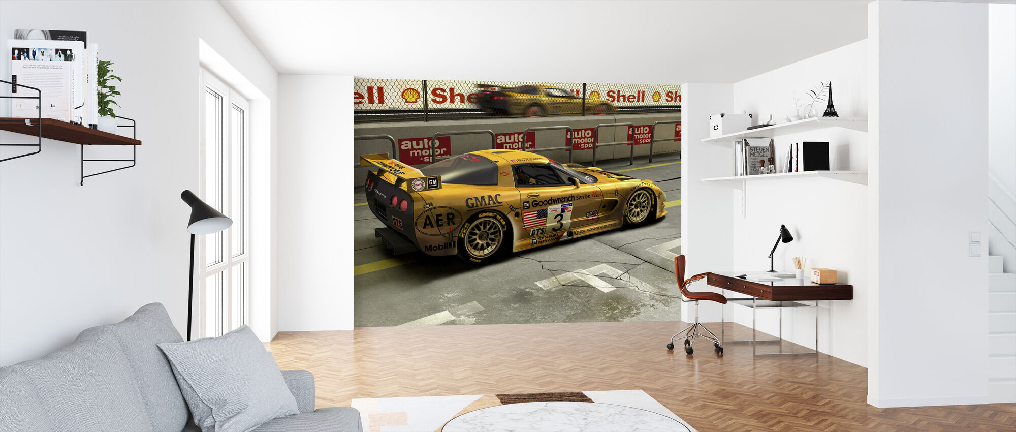 Car In Pit Lane - Wallpaper - Office