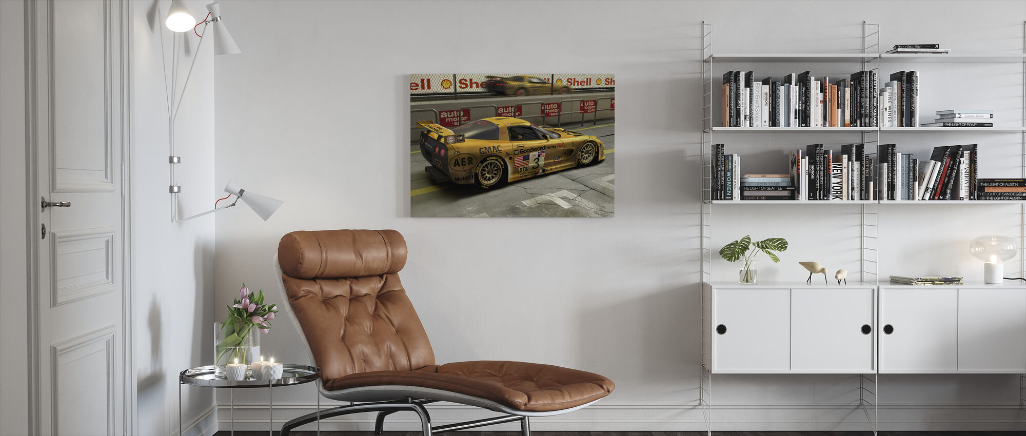 Bil i Pit Lane - Lerretsbilde - Stue