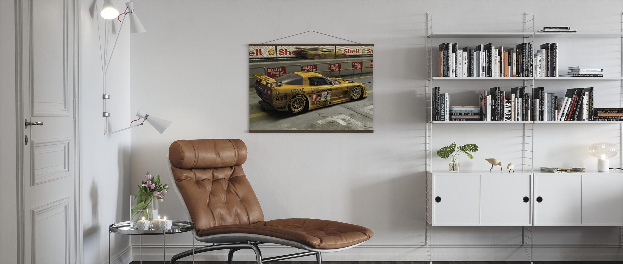 Bil i Pit Lane - Plakat - Stue