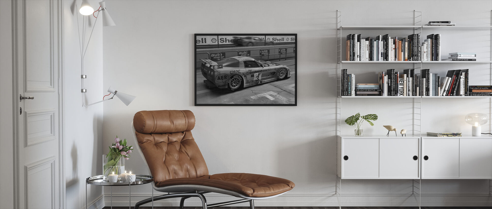 Car In Pit Lane BW - Framed print - Living Room