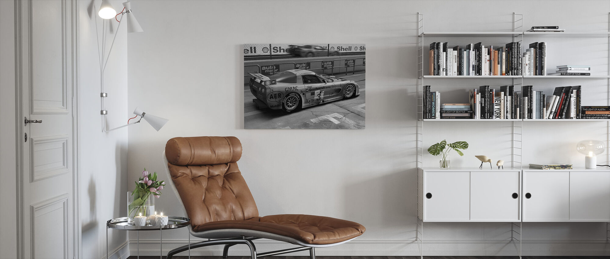 Car In Pit Lane BW - Canvas print - Living Room