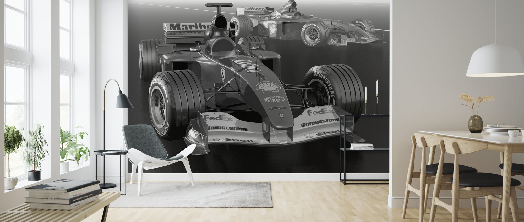 Classic Racing Car BW - Wallpaper - Living Room