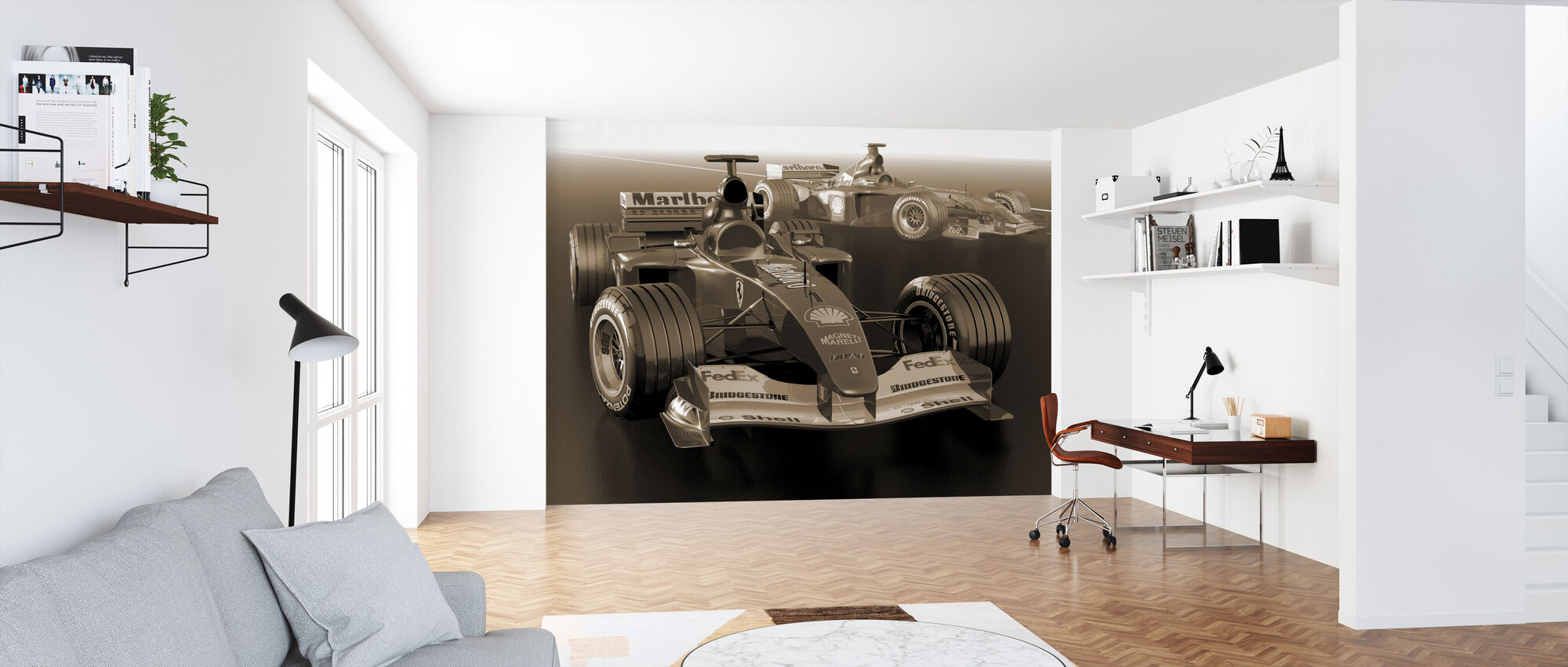 Classic Racing Car Sepia - Wallpaper - Office