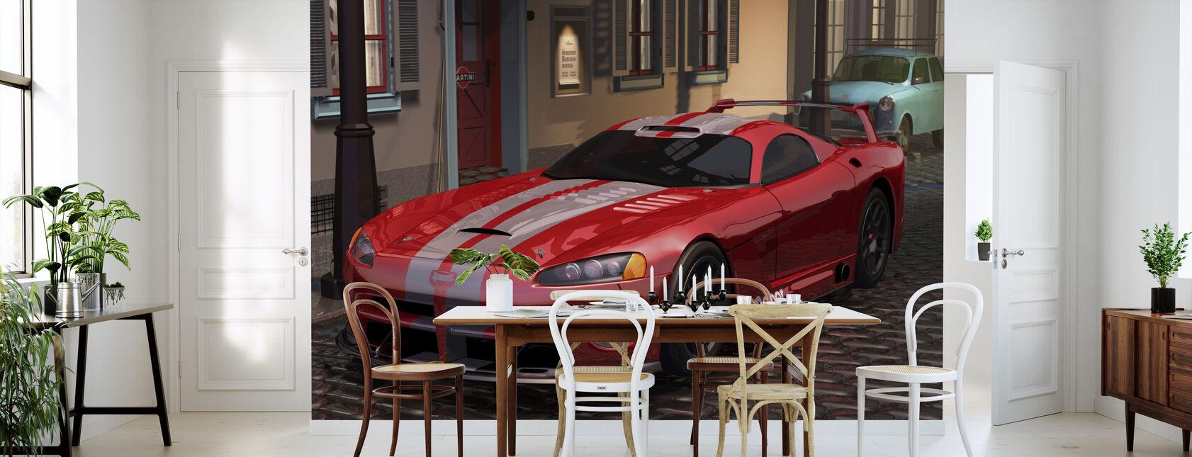 Red Fast Car - Wallpaper - Kitchen