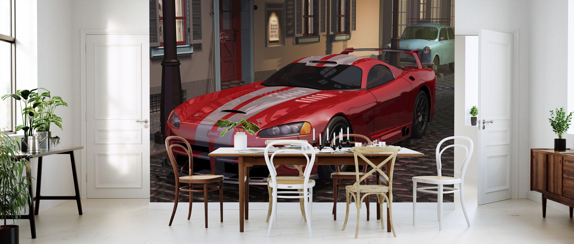 Rød rask bil - Tapet - Kjøkken