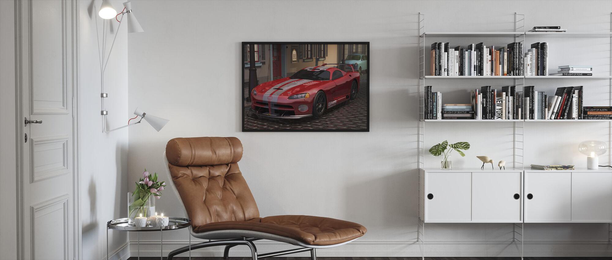 Rode Snelle auto - Ingelijste print - Woonkamer
